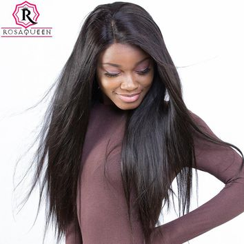 Pre Plucked Full Lace Human Hair Wigs For Women Black 180% Density Brazilian Straight Lace Wig With baby Hair Rosa Queen Remy