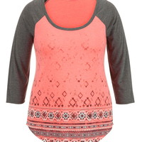 Plus Size - Patterned Scoop Neck Baseball Tee - Calypso Coral