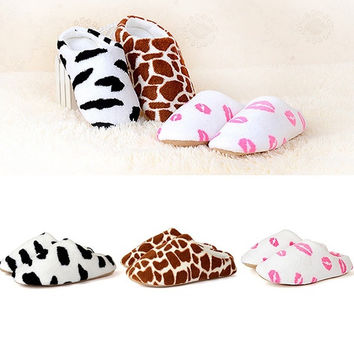 Men Women Soft Winter Non-slip Slippers Cotton Sandal House Home Anti-slip Shoes = 1929698500