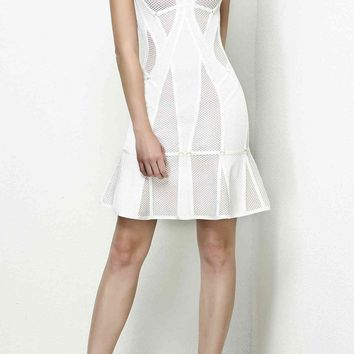 Mara White Mesh Bandage Dress