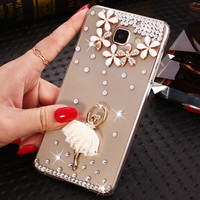 2017 Ballet Pattern Phone Cases Cover For Samsung Galaxy S5 S6 S7 Egde,Ladies Rhinestone Pearl Case For Samsung Galaxy S5 S6 S7