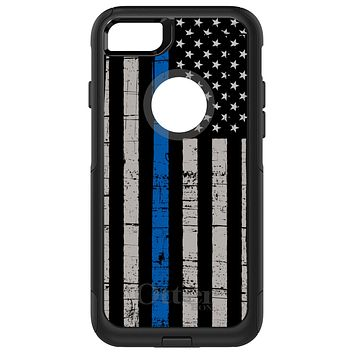 DistinctInk™ OtterBox Commuter Series Case for Apple iPhone or Samsung Galaxy - Weathered Thin Blue Line