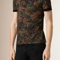 Camouflage Print Cotton Polo Shirt