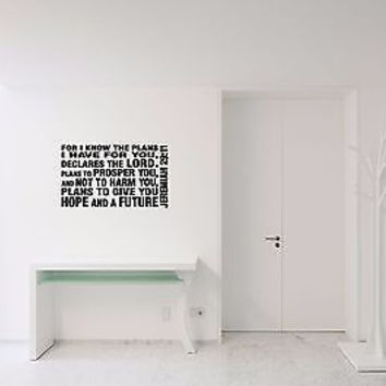 For I Know The Plans I Have For You quote wall sticker decal wall art decor 5491
