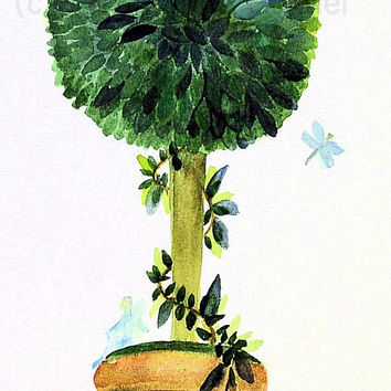 Garden Topiary  Nature Art Watercolor Painting Woodland Fairy Dragonfly Original Illustration