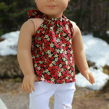 18 inch doll clothes,black floral halter top , white ripped skinny pants, american girl ,maplelea