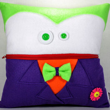 Joker Pillow with Pocket Mouth and Button Eyes