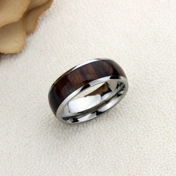 Inside Custom Engraving Personalized Titanium Wedding Band Promise Ring 8mm Polished Domed Santos Rosewood Inlay Ring - ZDPTI431