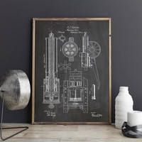 Gatling Gun, Machine Gun, Gun Printable, Civil War Poster, Gun Blueprint, Gun Wall Decor, Gun Lover Gift, Civil War Decor, INSTANT DOWNLOAD