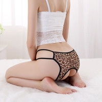Leopard Hipster Open Crotch Butt Lifter Intimates Underwear Lingerie Panties