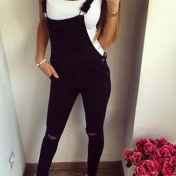 Black Cotton Denim Overalls