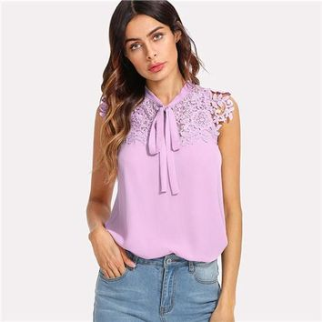 Summer Purple Stand Collar Sleeveless Blouse Women Casual Solid Top