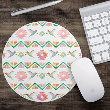 Watercolor Humming Bird Desk Accessory - Tribal Mouse Pad - Cute Mouse Pad - Desk Accessory - Secretary Gift - Gifts Under 15