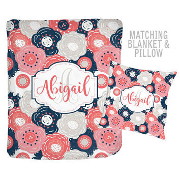 Navy Coral Monogram Blanket - Personalized Flower Blanket - Navy Coral Nursery-Girl Name Blanket-Baby Shower Gift-Swaddle Blanket Pillow Set