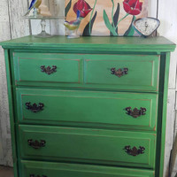 Hand painted Dresser in Antibes Green Chalk Paint, distressed and waxed.