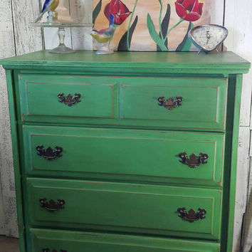Hand Painted Dresser In Antibes Green Chalk Paint Distressed An