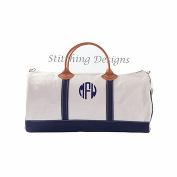 LARGE Canvas Round Duffle, Canvas tote, Canvas Duffle Bag with NAVY trim and leather handles