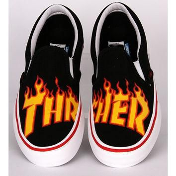 Vans x Thrasher Slip-On Pro Skate Shoes - Black