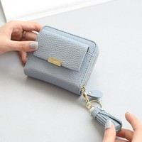 Ladies Wallet Luxury Korean Tassels Zippers Purse [11491360148]