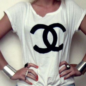 CHANEL Hot Letters Print Short Sleeve Round Collar T-Shirt Top I