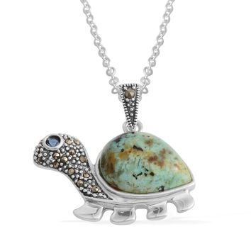 Howlite Sterling Sliver Turtle Pendant With Chain