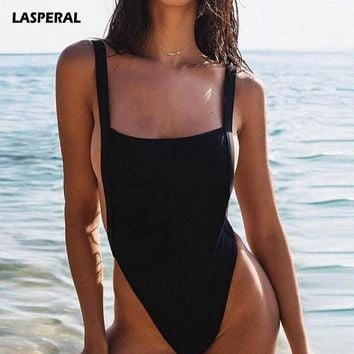 LASPERAL 2018 Sexy Thong One Piece Swimsuit Women Swimwear Solid Monokini Bodysuit Bodycon Bathing Suit Maillot De Bain Femme