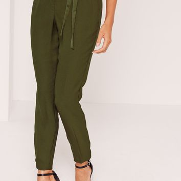 Missguided - Satin Tie Waist Cigarette Trousers Khaki