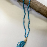 Beaded Tassel Necklace Turquoise