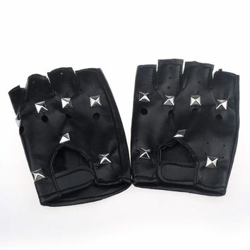 Theatrical Punk hip-hop pu leather half-finger men gloves square Nail winter women tactical glove semi-finger Artificial leather