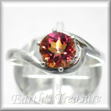 Azotic Ecstasy Mystic Fire Topaz 1ct Crescent Swirl Wedding Ring in Sterling Silver Solitaire Engagement Ring Sized 2-16 MTO