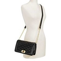 Women's Faux Leather Quilted Crossbody Handbag with Turn Lock Closure and Chain Strap - Merona™