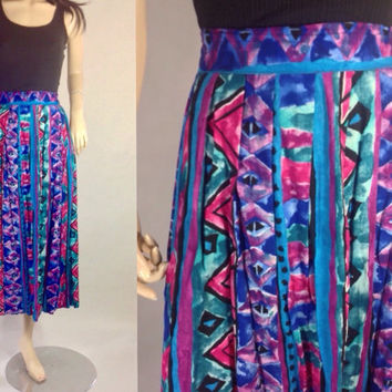 80s Tribal Skirt Midi Longer Length Rayon Nice Drape Teal Pink Painterly Abstract Chevron Aztec Print L XL plus size 30-36 in waist