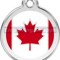 Canadian Flag Enamel and Stainless Steel Personalized Custom Pet Tag with LIFETIME GUARANTEE ID Tag Dog Tags and Cat Tags Free Engraving