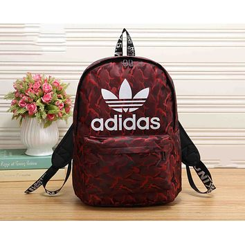Adidas Fashion Red Camouflage Sport Travel Backpack College School Bag Laptop Bag Bookbag I-KR-PJ
