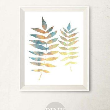 Bathroom wall art print Blue Leaves Printable Art Nature print Botanical Leaves art print, Blue wall decor Bathroom decor JPG DIY art