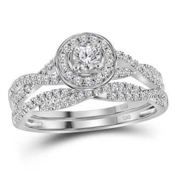 14kt White Gold Womens Round Diamond Twist Bridal Wedding Engagement Ring Band Set 1/2 Cttw