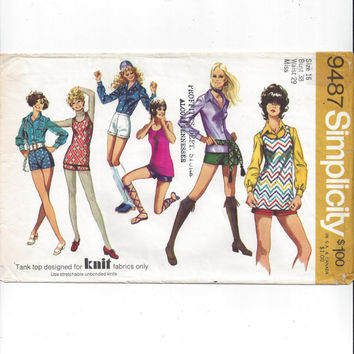 Simplicity 9487 Pattern for Misses' Shorts, Blouse, Top, Vintage Hot Pants, Miss Size 16, From 1971, Vintage Pattern, Home Sewing Pattern