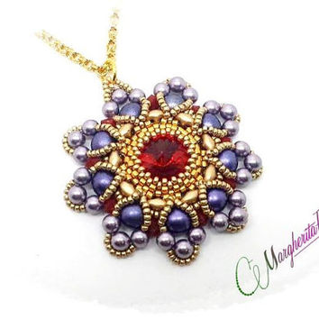 Tutorial, bead pattern How to make Prague pendant with swarovski, superduo, seed beads and pearls.