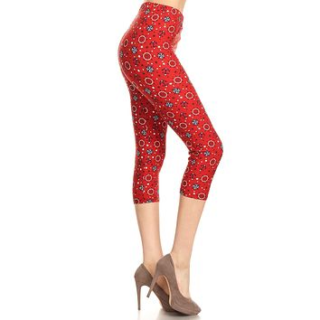 Women's Plus colorful Anchor Compass Printed Cropped Capri Leggings