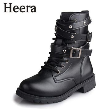 Hot Sale Fashion Women Motorcycle Boots Ladies Vintage Rivet Combat Army Punk Goth Ank