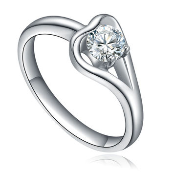 Stainless Steel Cubic Zirconia Centered Heart Ring
