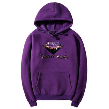 Diamond Fashion Drawstring Galaxy Long Sleeve Top Sweater Pullover Hoodie