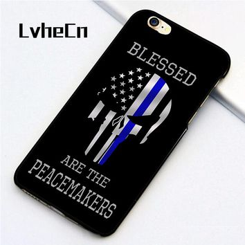 LvheCn 5 5S SE phone cover cases for iphone 6 6S 7 8 Plus X back skin shell Thin Blue Line Flag Quote Police