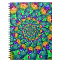 Rainbow Turquoise Bokeh Fractal Spiral Notebook