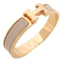 HERMES Click Crack Bangle Bracelet Gold Plating