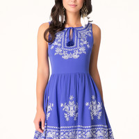 bebe Womens Embroidered Georgette Dress Royal Blue White