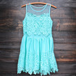 mint to be mesh panel crochet dress
