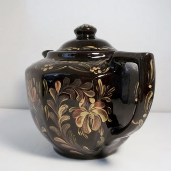 A Vintage Black Stoneware Tea Pot Hand Painted Original Design Rosemaling Folk Art Style