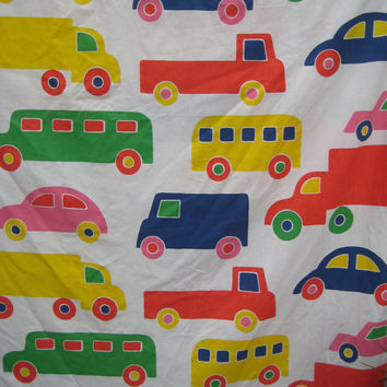 Vintage Marimekko Bedding Bo Boo Flat Bed Sheet TWIN Size Flat Bed Sheet Kids Bedding Dan River Truck Car Bus Unisex Child Fabric Clean Used