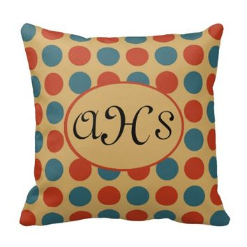 Teal Orange Polka Dots on Yellow Monogram Pillow
